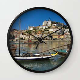 Port wine barges on the Douro, Porto Wall Clock