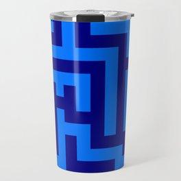 Brandeis Blue and Navy Blue Labyrinth Travel Mug