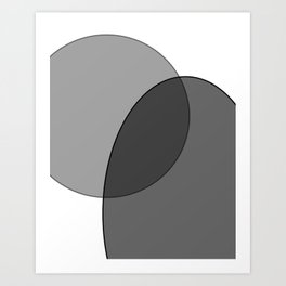 Circle Oval | Grey and Black Art Print