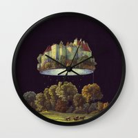 castle in the sky Wall Clocks featuring Castle by Matthias Leutwyler