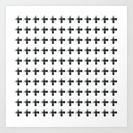 Smudgy Painted Cross 2 Minimalist Monochromatic Black and White Pattern Art Print