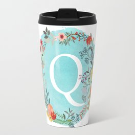 Personalized Monogram Initial Letter Q Blue Watercolor Flower Wreath Artwork Travel Mug