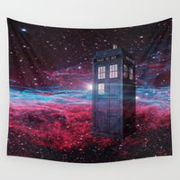 dr who Wall Tapestries featuring Dr Who police box  by store2u