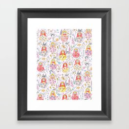 Russian dolls and flowers_ink and watercolor 3 Framed Art Print