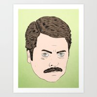 swanson Art Prints featuring Ron Swanson by Chase Kunz