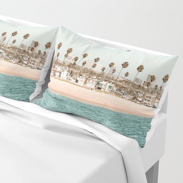 Vintage Newport Beach Print {1 of 4} | Photography Ocean Palm Trees Teal Tropical Summer Sky Pillow Sham