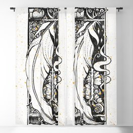 Wing Feather Inktober :: Bronzed Angels Barefoot Blackout Curtain