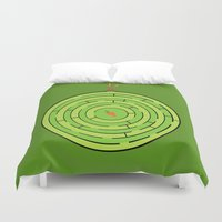labyrinth Duvet Covers featuring Labyrinth by KATUDESIGN