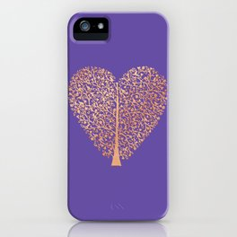 Rose Gold Foil Tree of Life Heart iPhone Case