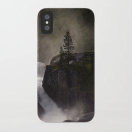 Sunlit waterfall detail in Norway iPhone Case
