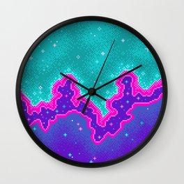 90s Pixel Galaxy Wall Clock