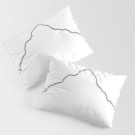 Mt Everest Art Print / White Background Black Line Minimalist Mountain Sketch Pillow Sham