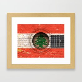 Old Vintage Acoustic Guitar with Lebanese Flag Framed Art Print