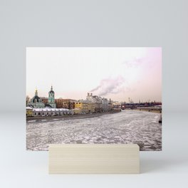 A view of spring ice floes on the Moscow river with Kremlin Mini Art Print
