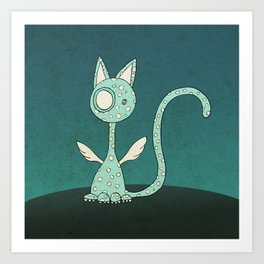 Winged polka-dotted blue cat Art Print
