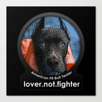 pit bull Canvas Prints featuring Pit Bull by Galen Valle