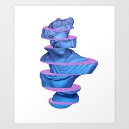 Vaporwave Marble Roman Greek 3D Sliced Statue Gift Art Print