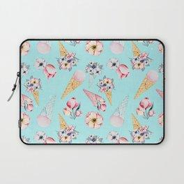 Pink & Teal Summer Fun Flower Ice Cream Cone - Pattern Laptop Sleeve