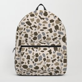 Terrazzo in brown and gray on cream Backpack