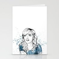 emma stone Stationery Cards featuring Emma by naidl