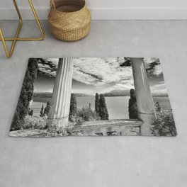 Roman Ruins, Garda, Sirmione, Italy landscape coastal black and white photograph / art photography  Rug