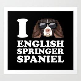 I Love English Springer Spaniel modern v2 Art Print