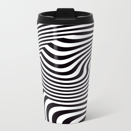 Black and White Pop Art Optical Illusion Metal Travel Mug