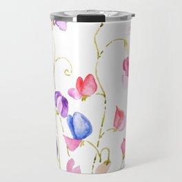 colorful sweet peas flower watercolor Travel Mug