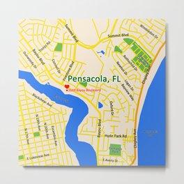 Map of Pensacola, FL Metal Print