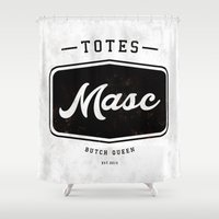 totes Shower Curtains featuring Totes Masc - Vintage by lessdanthree