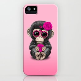 Pink Day of the Dead Sugar Skull Baby Chimp iPhone Case