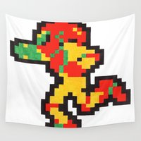 metroid Wall Tapestries featuring samus by Walter Melon