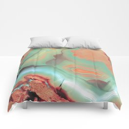 Living Coral and Teal Agate Comforters
