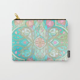 Floral Moroccan in Spring Pastels - Aqua, Pink, Mint & Peach Carry-All Pouch