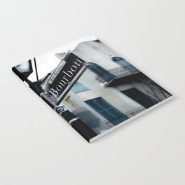 Dumaine and Bourbon - Street Sign in New Orleans French Quarter Notebook