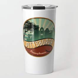 Pittsburgh City Skyline Pennsylvania Retro Vintage Design Travel Mug