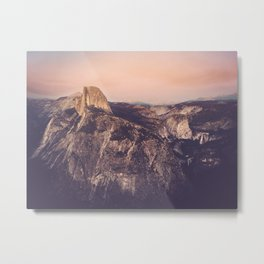 Yosemite, Smokey Sunset on Half Dome from Glacier Point Metal Print