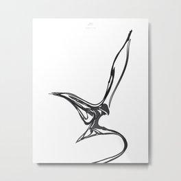 Swallow-1.Black on white background. (ZOOM) Metal Print