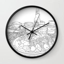 Scottish Beef Steak & Guinness Pie - Line Art Wall Clock
