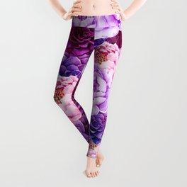 purple peonies Leggings