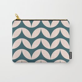 Geometric Leaf Shapes in Teal and Blush Carry-All Pouch