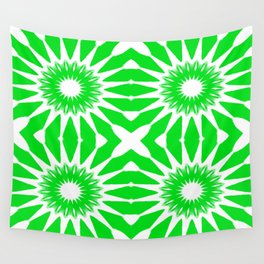 Green & White Pinwheel Flowers Wall Tapestry
