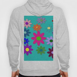 Flower Power - Teal Background - Fun Flowers - 60's Style - Hippie Syle Hoody