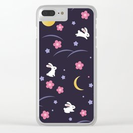 Moon Rabbits V2 Clear iPhone Case