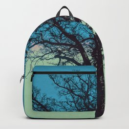 Teal and Aqua Abstract Moonlit Sky Tree Landscape A325 Backpack