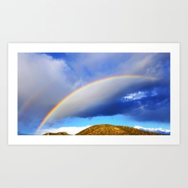 Rainbow above the mountains in Santa Fe Art Print