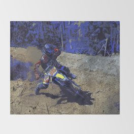Leaning In - Motocross Racer Throw Blanket