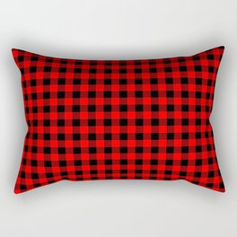 Mini Red and Black Coutry Buffalo Plaid Check Rectangular Pillow