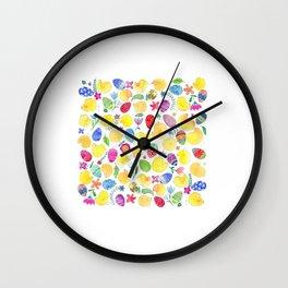 Tender chicks illustration | yellow watercolor pattern | alis| eastern pattern Wall Clock