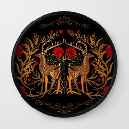 Two Stags Protecting The Dark Forest Gate Wall Clock